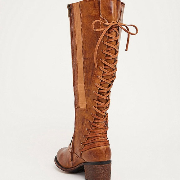 266519962857 Lace up back knee high boot wide calf wide fit